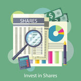 Tables, Reports, Charts of Share Price Royalty Free Stock Photo