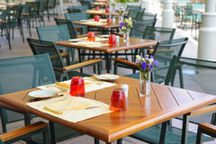 Tables in restaurant Royalty Free Stock Image