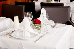Tables in restaurant decoration tableware empty dishware Stock Photography