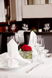 Tables in restaurant decoration tableware empty dishware Royalty Free Stock Photography
