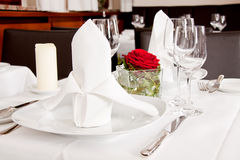 Tables in restaurant decoration tableware empty dishware Stock Photo
