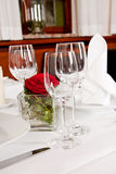 Tables in restaurant decoration tableware empty dishware Royalty Free Stock Photos