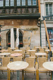 Tables and seats in front of Restaurant Royalty Free Stock Photos
