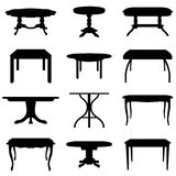 Tables set. Collection of different tables silhouettes. Vector illustration Royalty Free Stock Image