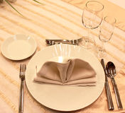 Tables set. For fine dining during a wedding event Stock Image