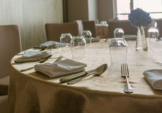 Tables set for dinner. In luxury hotel Royalty Free Stock Photography