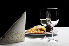 Tables set for  meal. In  modern  restaurant Royalty Free Stock Image