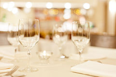 Tables set for meal Royalty Free Stock Photos