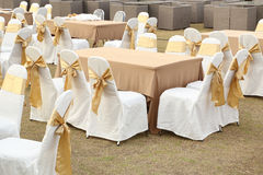 Tables set for meal. Empty outdoor tables set for meal Royalty Free Stock Image