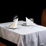 Tables set for  meal Stock Image