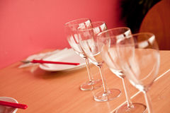 Tables set for meal in restaurant. Royalty Free Stock Photos