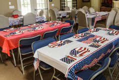 Tables Set up for American Holiday Celebration. In Meeting Hall Royalty Free Stock Image