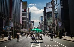 Tables set up in the middle of the road in Tokyo, Japan Royalty Free Stock Photography