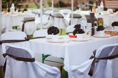 Tables set for wedding Stock Photos