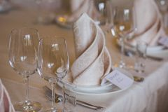 Tables set for wedding Stock Image
