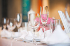 Tables set for wedding Stock Photo