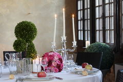 Tables set for wedding celebrations. T modena italy Royalty Free Stock Image