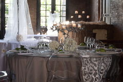 Tables set for wedding celebrations. T modena italy Royalty Free Stock Images