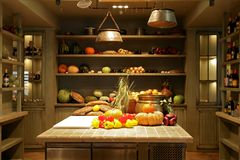 Tables and shelves with ripe vegetables Stock Photos