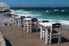 Tables on the shore Stock Photography