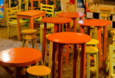 Tables and Stools Royalty Free Stock Photography