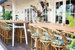 Tables in street cafe Royalty Free Stock Photography