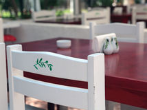 Tables in street restaurant Royalty Free Stock Image