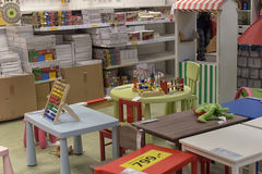 Tables and toys for children Stock Photo