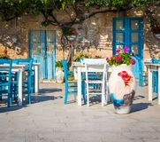 Tables in a traditional Italian Restaurant in Sicily Stock Photo