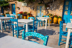 Tables in a traditional Italian Restaurant in Sicily Royalty Free Stock Photo