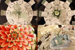 Tables seen from above, ready for wedding, multicam, grid 2x2, screen split in four parts royalty free stock image