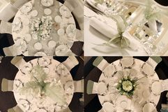 Tables seen from above, ready for wedding, multicam, grid 2x2, screen split in four parts royalty free stock photography