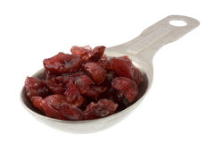 Tablespoon of dried cranberries. Dried cranberries on aluminum measuring tablespoon isolated on white, clipping path included Stock Photos