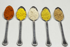 Tablespoons of different types of spice powders and food coloring Royalty Free Stock Photography