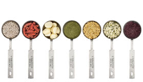 Tablespoons of superfood set Stock Photos