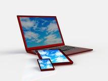 Tablet ПК, мобильный телефон и различные цифровые приборы Стоковое Фото