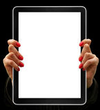 Tablet. Computer isolated in a hand on the white backgrounds. collections Stock Images