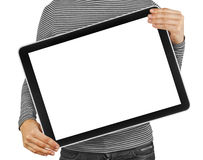 Tablet. Computer isolated in a hand on the white backgrounds Royalty Free Stock Images