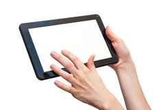 Tablet. Woman hands holding a tablet isolated on white Royalty Free Stock Photos