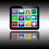 Tablet. Abstract tablet with colored icons for designers for various necessities Stock Photography
