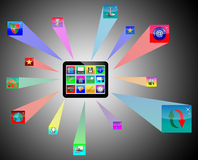 Tablet. Abstract tablet which shows the monitor and web icons on a black background for designers for various necessities Stock Image