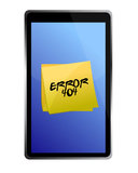 Tablet with a 404 error message Stock Image