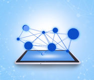 Tablet on abstract blue background with molecules Royalty Free Stock Image