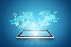 Tablet on abstract blue background with spotlight Stock Photos