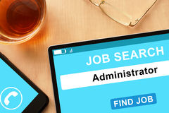 Tablet with Administrator on job search site. Stock Image