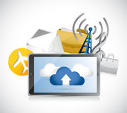 Tablet app cloud computing illustration design Stock Image