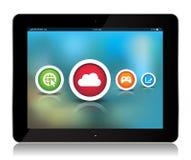 Tablet-APP-Ikonen auf abstraktem Hintergrund lizenzfreie abbildung
