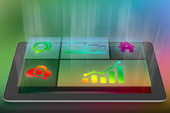 Tablet and application icons on a colorful Stock Photos