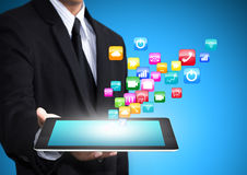 Tablet with application icons Royalty Free Stock Photo