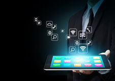 Tablet with application icons Stock Photo